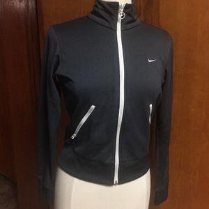 Short Nike Jacket Gray White Stripes Med Workout